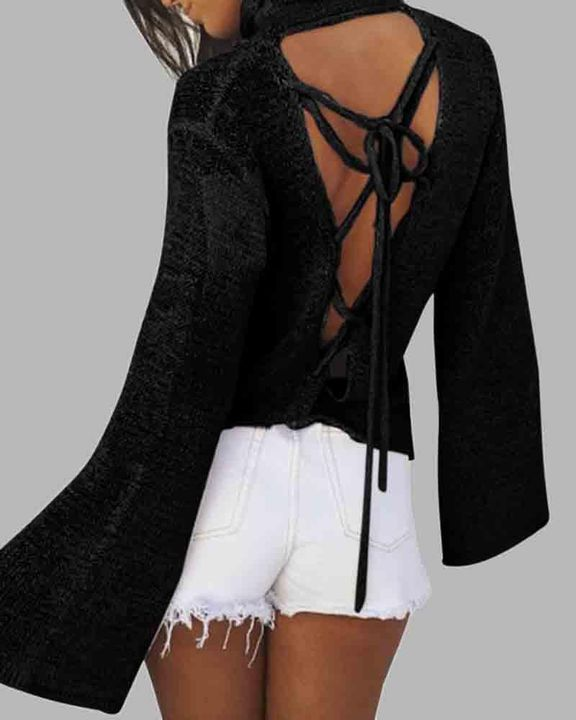 High Neck Lace Up Back Bell Sleeve Sweater gallery 2