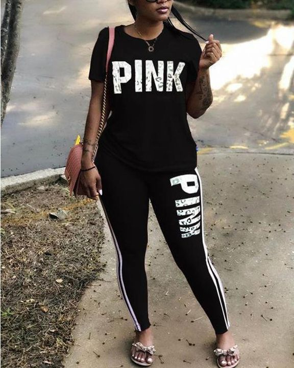 Letter Print Contrast Binding Round Neck Tee & Pants Set gallery 5