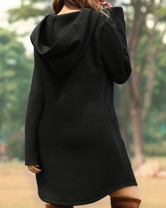 Solid Kangaroo Pocket Drawstring Mini Hooded Dress gallery 5