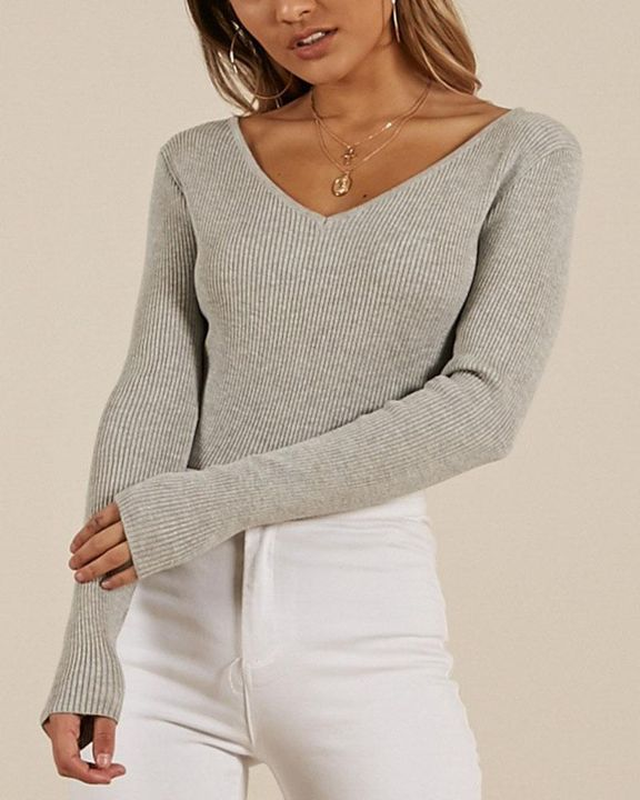 Ribbed Knit Criss Cross Back Bodycon Sweater gallery 1