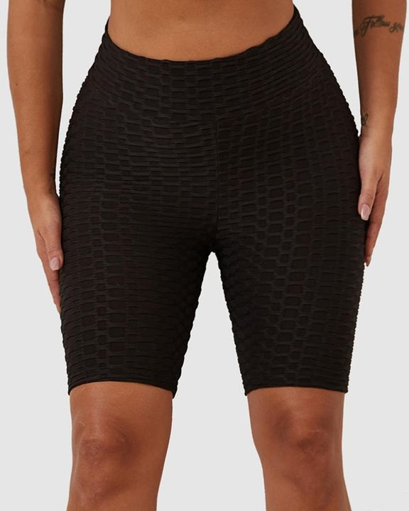 Solid Textured Hip Lifting Shorts gallery 2