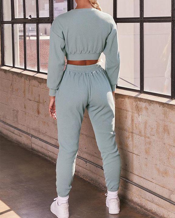 Solid Ribbed Long Sleeve Crop Top & Pants Set gallery 7