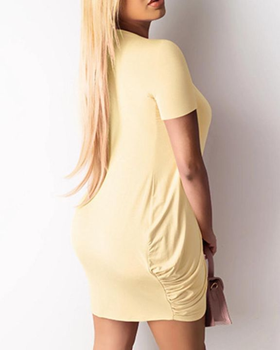 Solid Ruched Wrap Asymmetrical Mini Dress gallery 11
