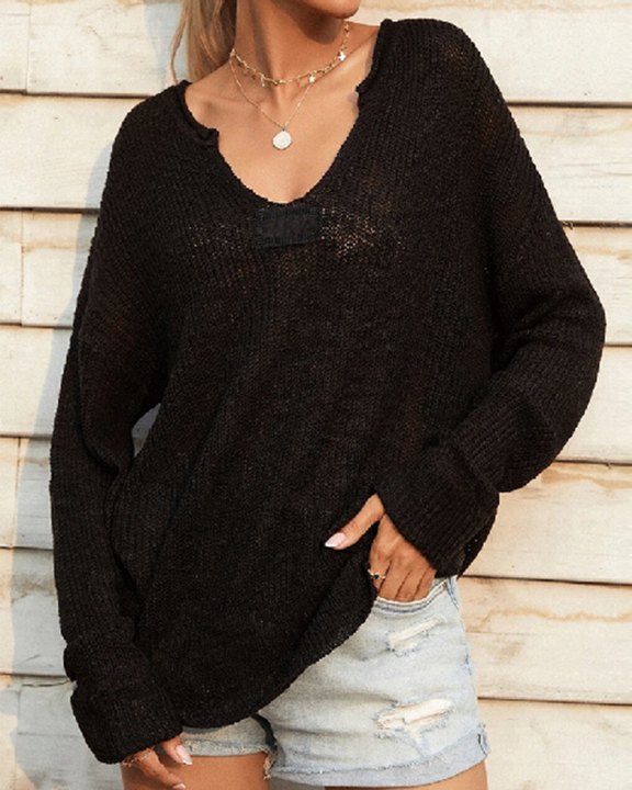 Chunky Knit V Neck Long Sleeve Sweater gallery 2