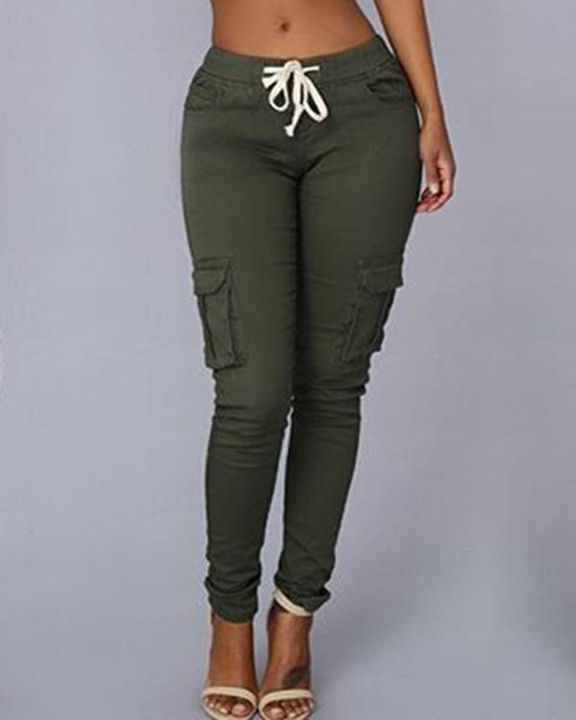 Solid Pocket Detail Drawstring Front Pants gallery 5