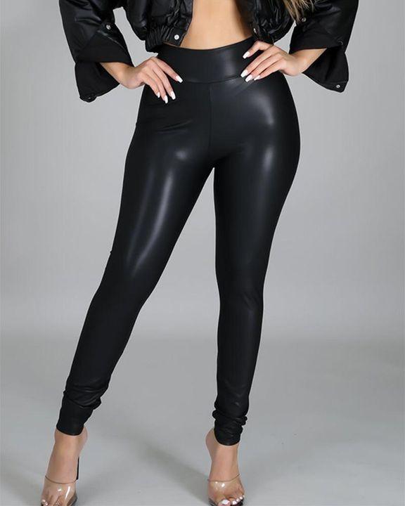 High Waist PU Skinny Pants gallery 2