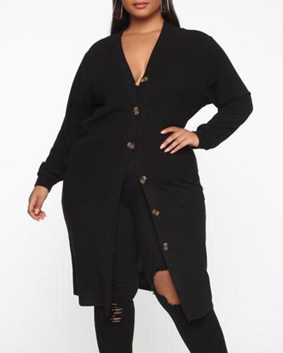 Open Front Dual Pocket Button Decor Cardigan gallery 2