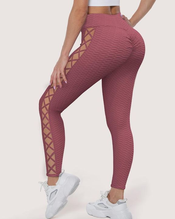 Lace Up Side Textured Ruched Sports Leggings gallery 2