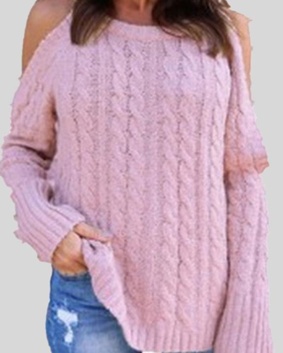 Cable Knit Cold Shoulder Sweater gallery 3