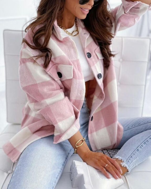 Gingham Flap Pocket Button Up Coat gallery 1