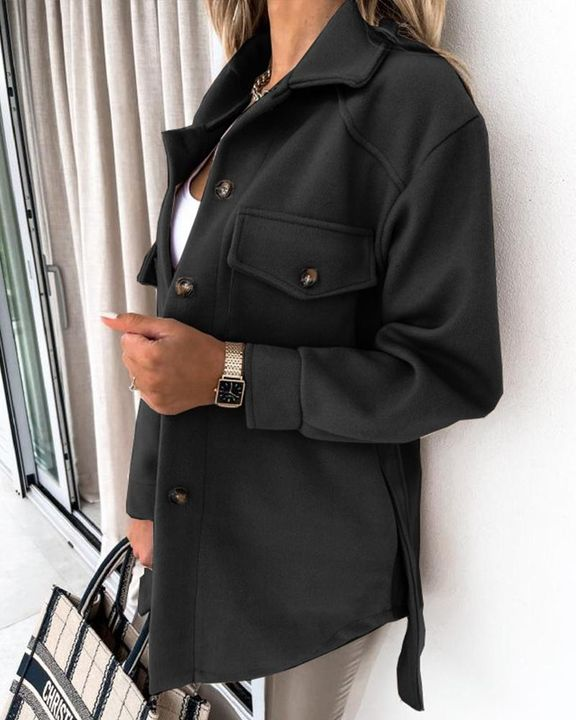 Self-Belted Flap Pocket Button Up Coat gallery 5