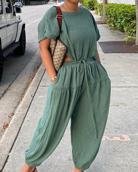 Solid Ruched Drawstring Waist Cutout Top & Pants Set gallery 1