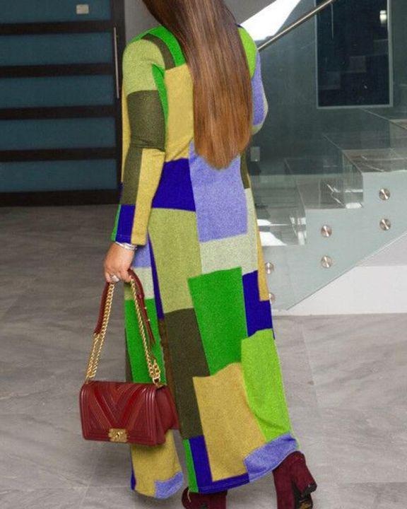 Colorblock Split Open Front Cardigan gallery 4