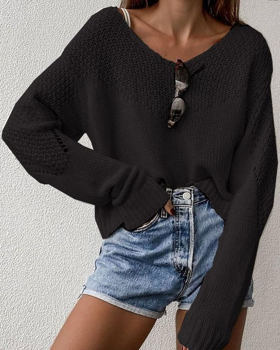 Crochet Drop Shoulder V Neck Sweater gallery 2