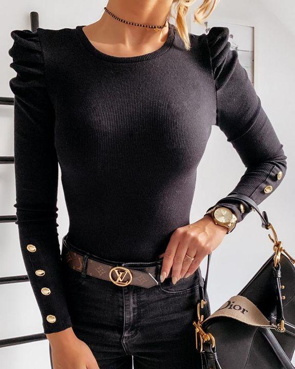Rib Knit Leg-of-mutton Sleeve Button Trim Sweater gallery 2