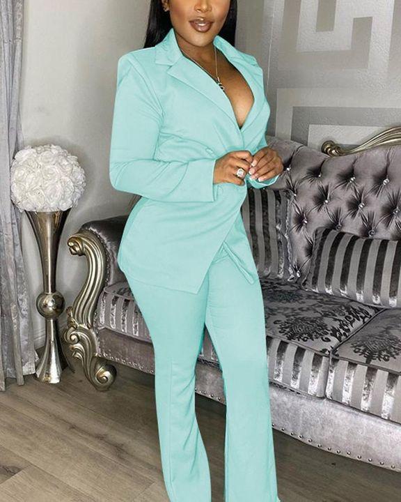 Gigot Sleeve Lapel Neck Double Breasted Blazer & Pants Set gallery 7