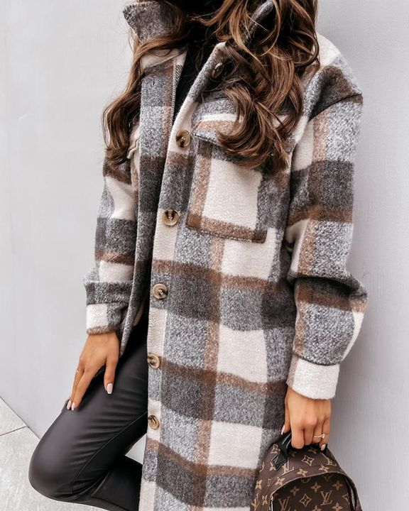Plaid Print Patch Pocket Button Up Teddy Coat gallery 6