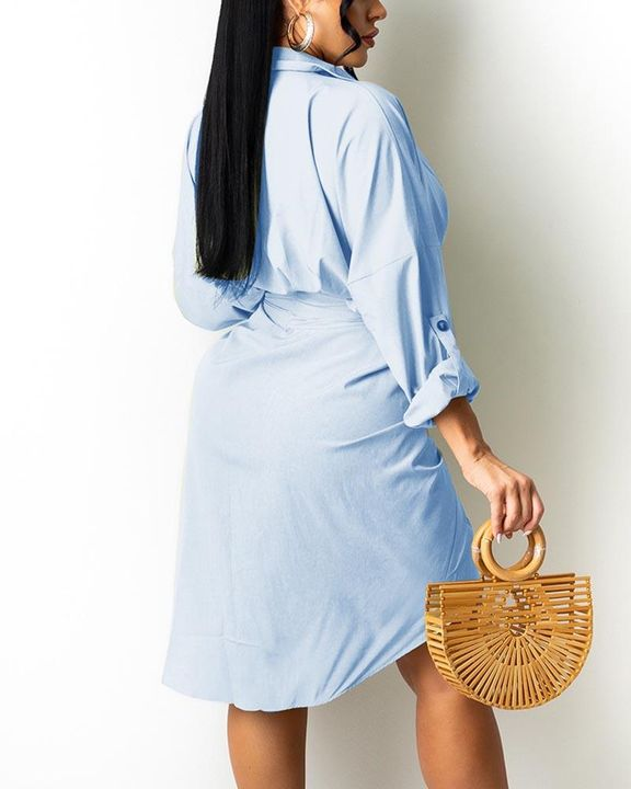 Solid Button Up Ruched Belted Knee Length Dress gallery 6