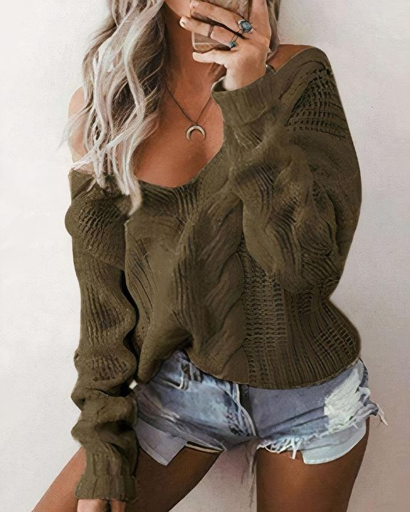 Mixed Knit Drop Shoulder Sweater gallery 5