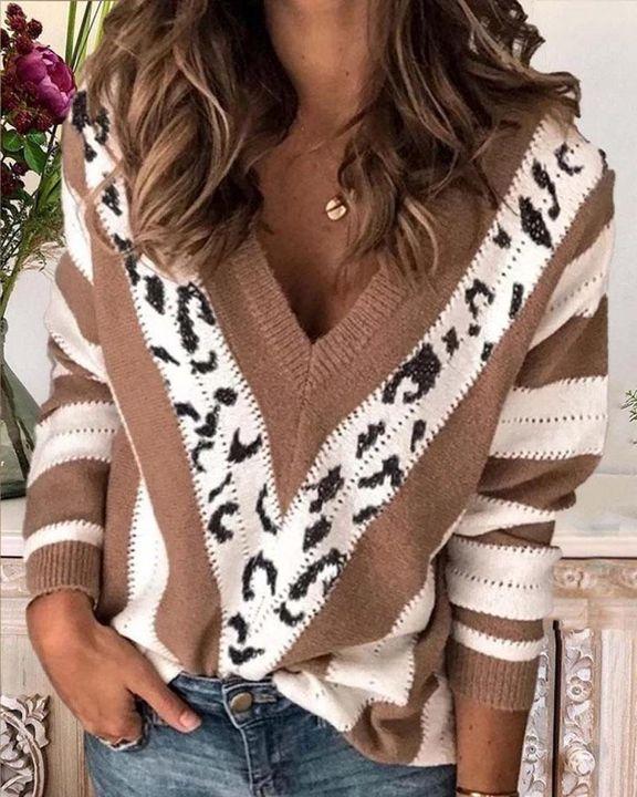 Leopard Print Drop Shoulder V Neck Sweater gallery 1