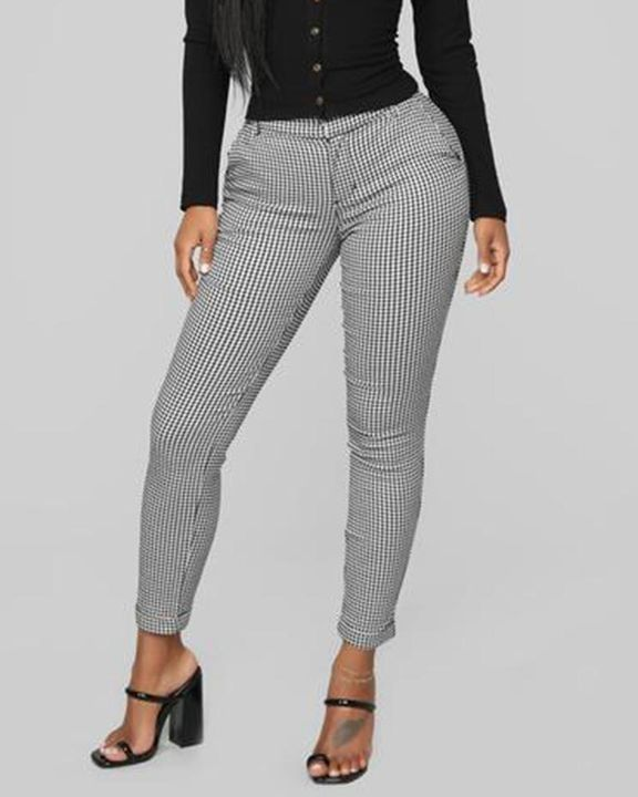 Plaid Cuff Ankle Zip Front Pants gallery 2