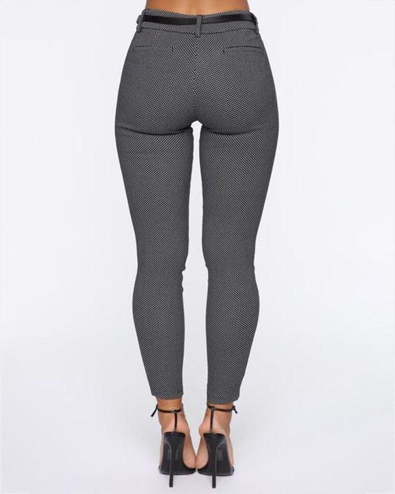 Plaid  Slant Pocket Self-Belted Mid Rise Pants gallery 6