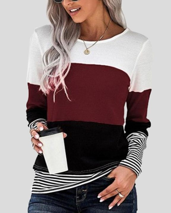 Colorblock Striped Print Round Neck Sweater gallery 1