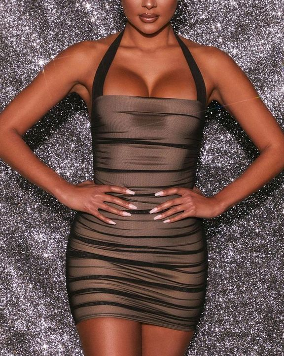 Mesh Ruched Backless Halter Bodycon Dress gallery 2
