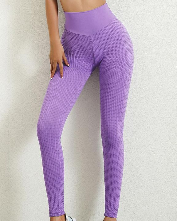 Solid Textured Butt Lifting Leggings gallery 2
