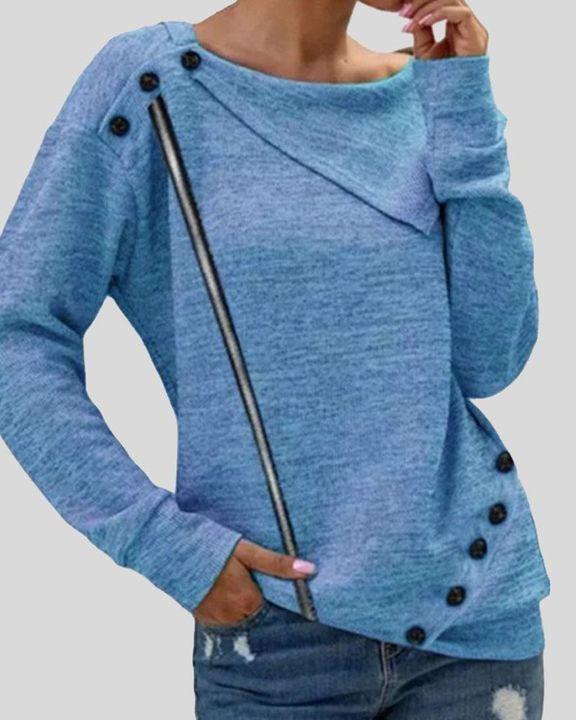 Striped Button Decor Drop Shoulder Sweater gallery 1