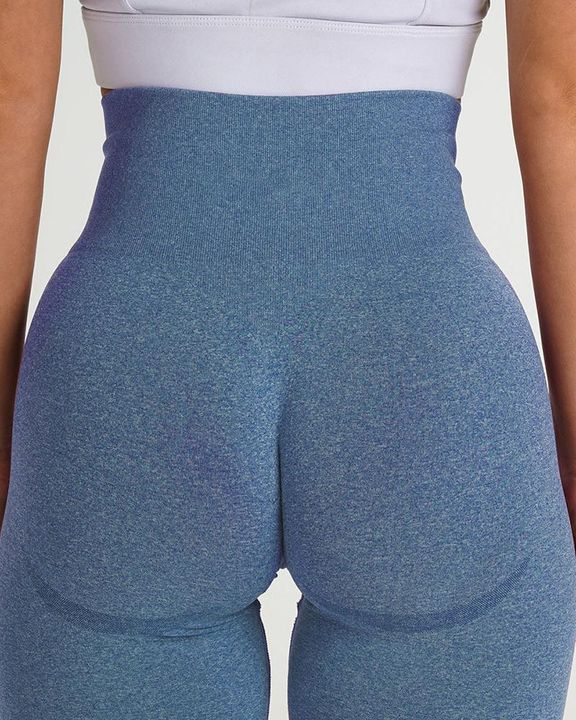 Solid Wide Waistband Contrast Stitch Sports Leggings  gallery 10