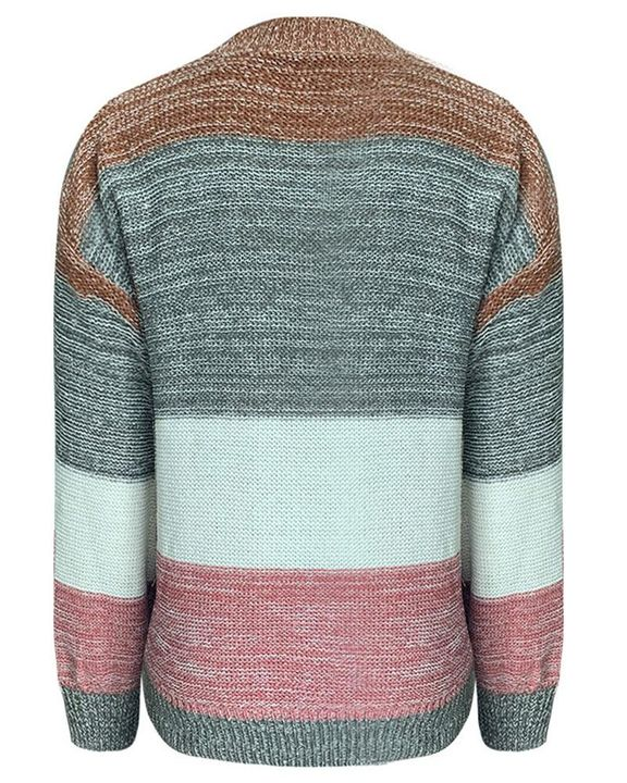 Colorblock Mixed Knit Drop Bishop Sleeve Sweater gallery 6