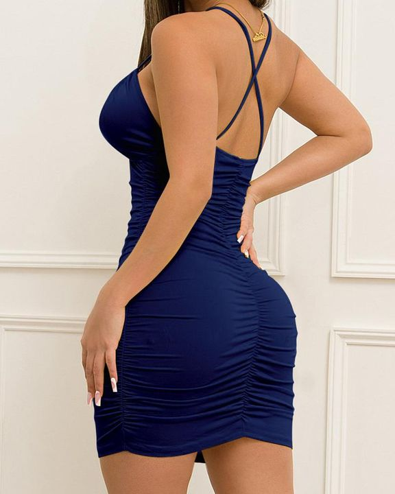 Solid Ruched Drawstring Front Cut Out Mini Dress gallery 11