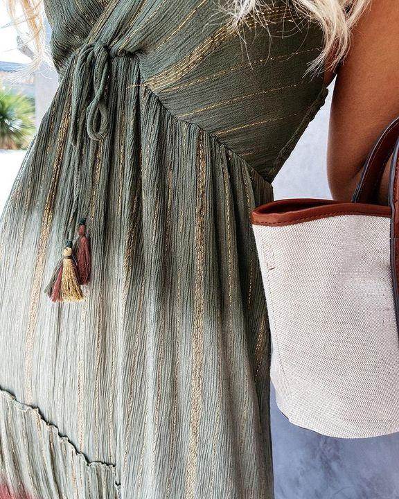Tie Dye Metallic Tassel Knot Frill Trim Cami Long Dress gallery 4