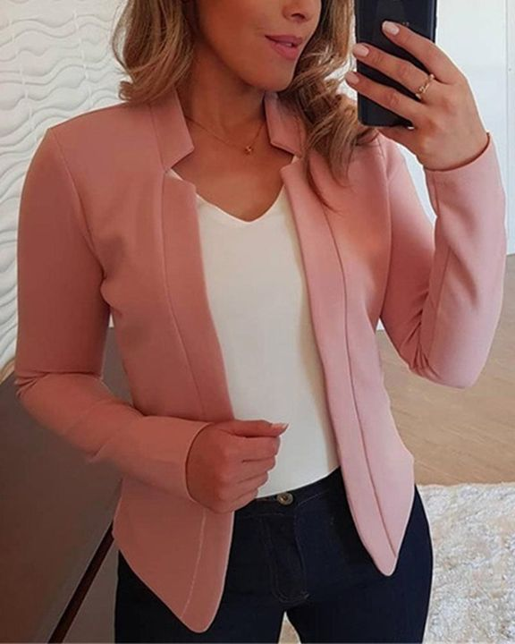 Solid Open Front Form Fitting Blazer gallery 4