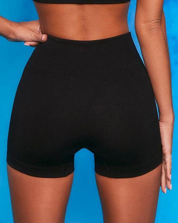 Ribbed Knit Drawstring Waist Butt Lifting Seamless Sports Shorts gallery 2