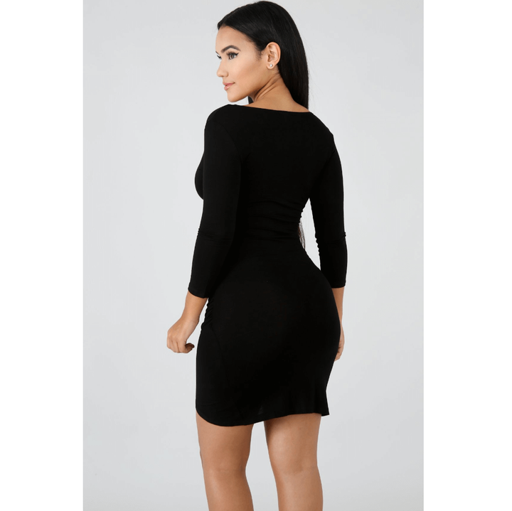 Deep V-Neck Wrap Ruched Irregular Hem Mini Dress gallery 11