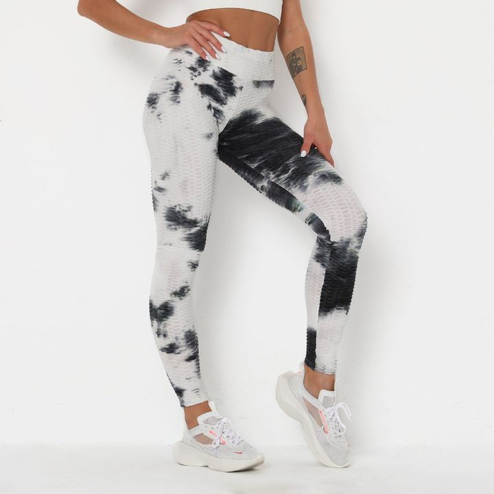 Smoke Tie Dye Textured Butt Lifting Ruched Leggings gallery 7
