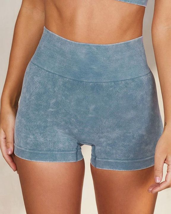Solid Ribbed Knit High Waist Butt Lifting Sports Shorts  gallery 1