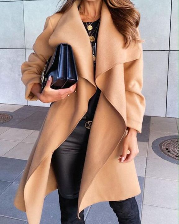 Solid Belted Pocket Detail Waterfall Coat gallery 11