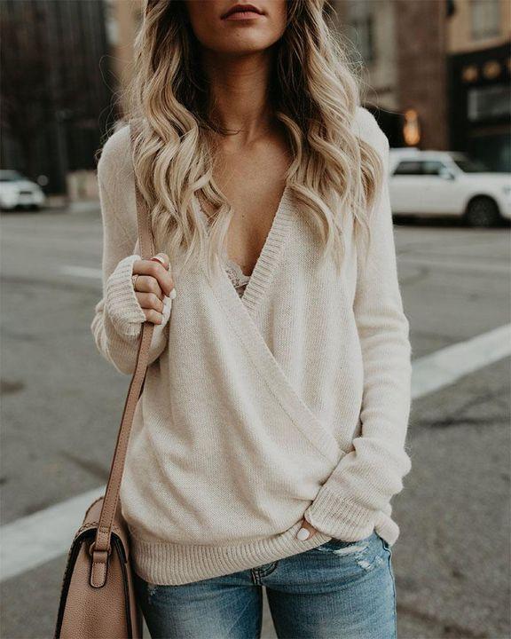 Surplice Neck Drop Shoulder Sweater gallery 1