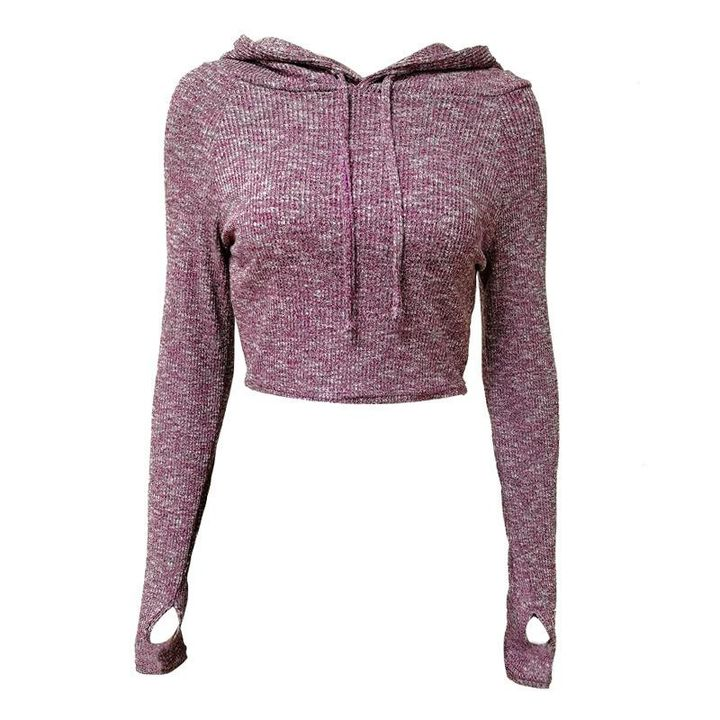 Hooded Crop Sweatershirt with Thumb Holes gallery 2