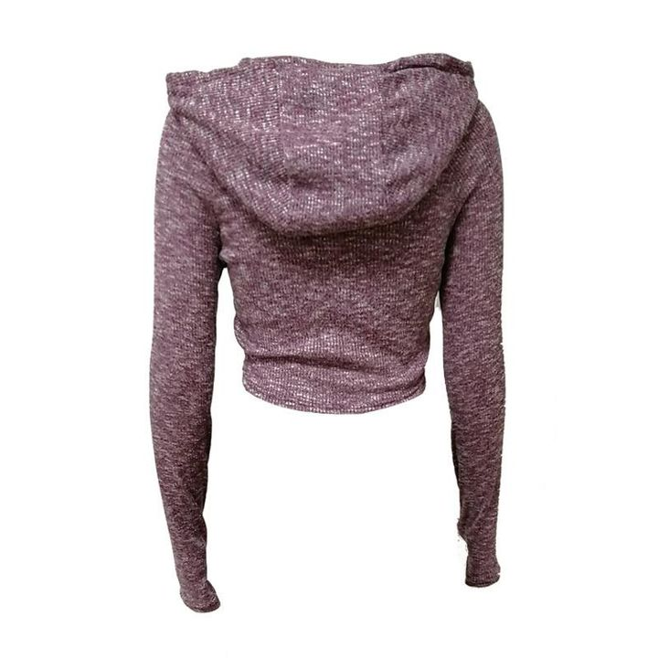 Hooded Crop Sweatershirt with Thumb Holes gallery 3