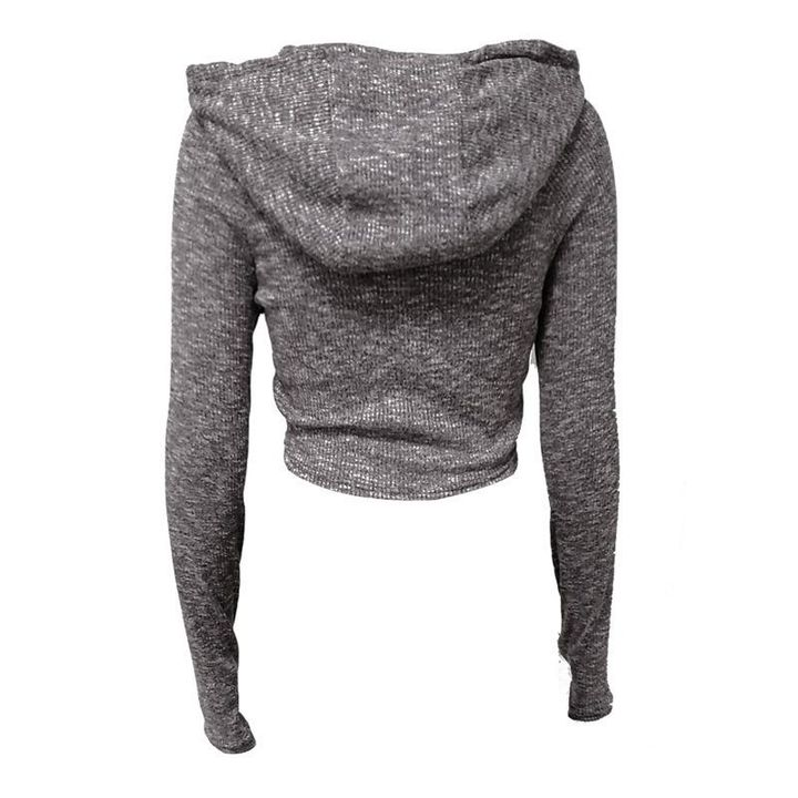 Hooded Crop Sweatershirt with Thumb Holes gallery 5