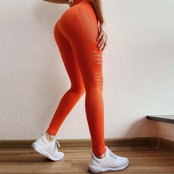 Breathable Hollow Out Stretch Sports Leggings gallery 5