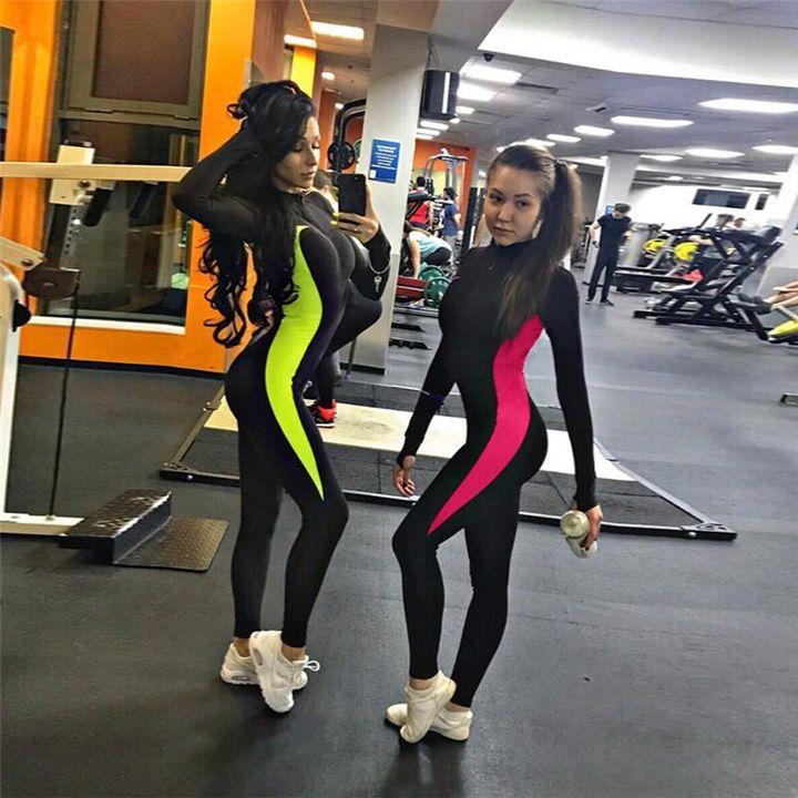 Color Block Patchwork Zip Front Fitness Jumpsuit gallery 5