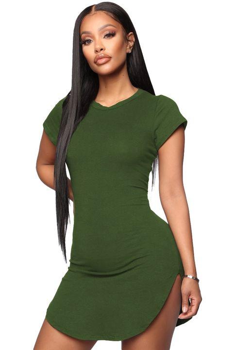 Solid Scoop Neck Side Slit Mini Dress gallery 2