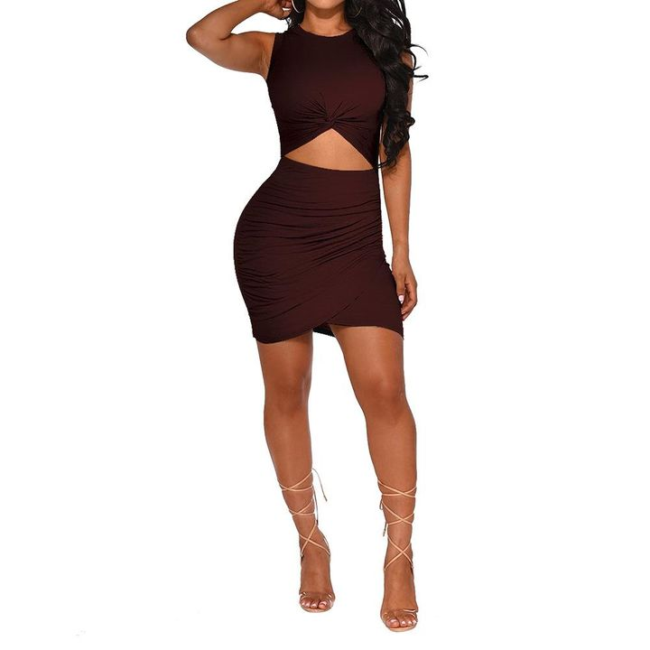 Solid Cut Out Front Wrap Mini Dress gallery 2