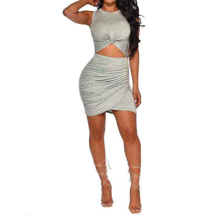 Solid Cut Out Front Wrap Mini Dress gallery 4