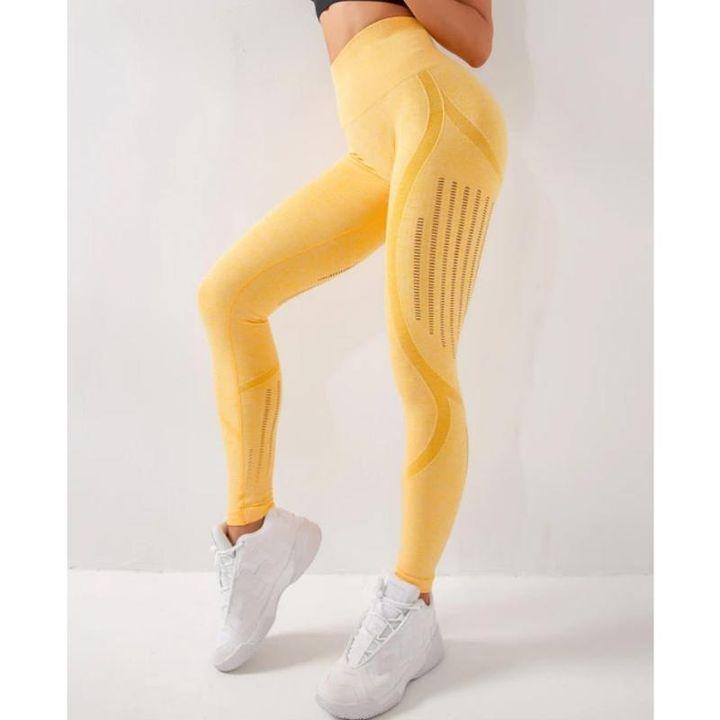 Seamless Eyelet Detail Hip-Lifting Sports Leggings gallery 7